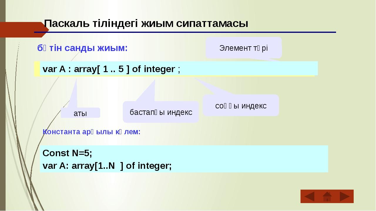 Паскаль тіліндегі жиым сипаттамасы бүтін санды жиым: аты бастапқы индекс соң...