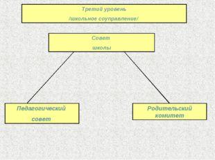 Третий уровень /школьное соуправление/ Педагогический совет Совет школы Родит
