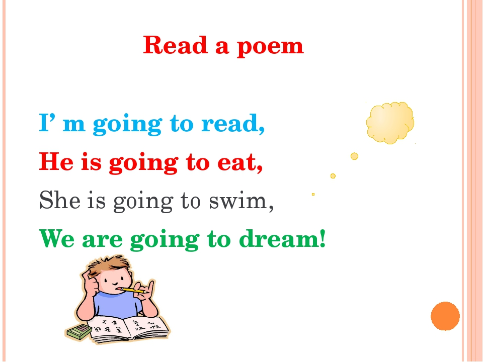 Read a poem I' m going to read, He is going to eat, She is going to swim, We...