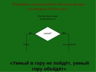 Попробуйте сформулировать известную русскую пословицу по ее блок-схеме «Умный