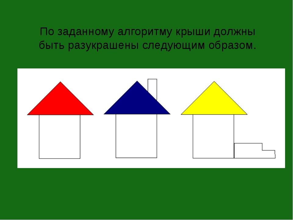 По заданному алгоритму крыши должны быть разукрашены следующим образом.