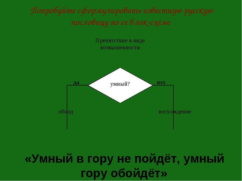 Попробуйте сформулировать известную русскую пословицу по ее блок-схеме «Умный...