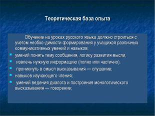 Теоретическая база опыта Обучение на уроках русского языка должно строиться