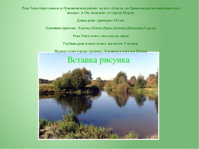 Река Теша берет начало в Лукояновском районе на юге области, на Приволжской в...