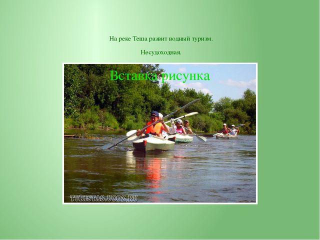 На реке Теша развит водный туризм. Несудоходная.