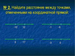 № 2. Найдите расстояние между точками, отмеченными на координатной прямой: