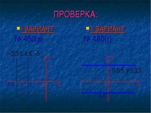 ПРОВЕРКА: I ВАРИАНТ № 480(в) II ВАРИАНТ № 480(г) у х -0,5 0 1,5 у х -5 -5,5 0