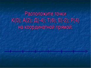 Расположите точки К(0); А(2); Д(-4); Т(6); Е(-2); Р(4) на координатной прямой: