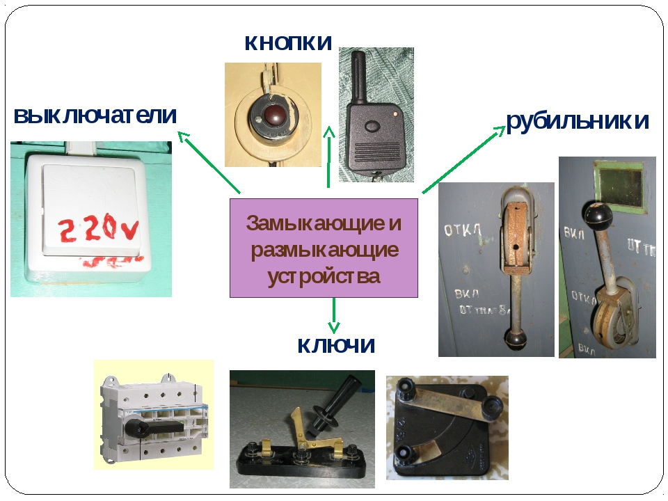 Замыкающие и размыкающие устройства выключатели ключи рубильники кнопки