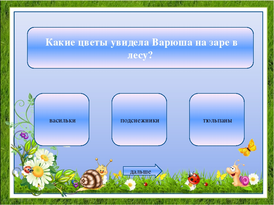 Какие цветы увидела Варюша на заре в лесу? васильки подснежники тюльпаны дал...