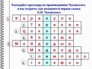 Разгадайте кроссворд по произведениям Чуковского, и вы угадаете, как называет