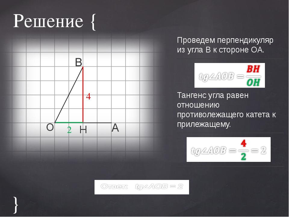 Решение { H Проведем перпендикуляр из угла B к стороне OA. Тангенс угла равен...
