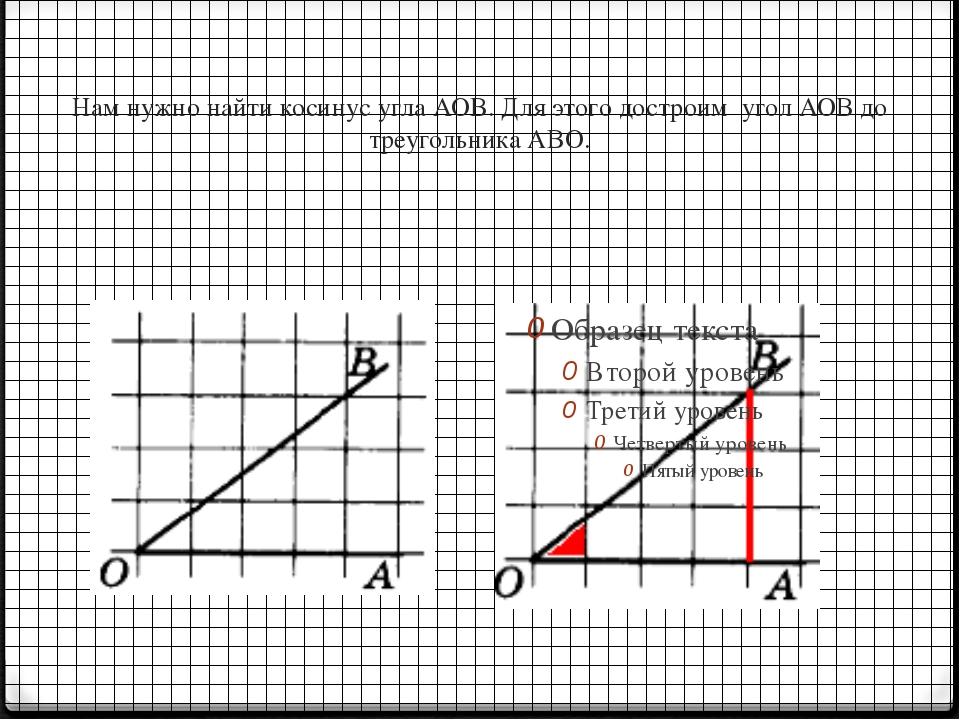 Нам нужно найти косинус угла АОВ. Для этого достроим угол АОВ до треугольника...