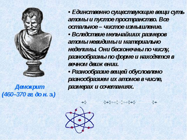 Демокрит (460–370 гг. до н. э.) • Единственно существующие вещи суть атомы и...
