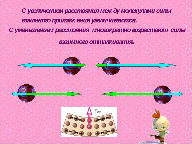 С увеличением расстояния между молекулами силы взаимного притяжения увеличива...