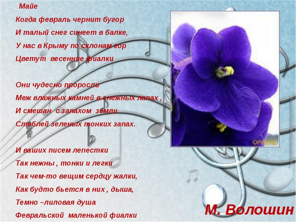 Майе Когда февраль чернит бугор И талый снег синеет в балке, У нас в Крыму п...