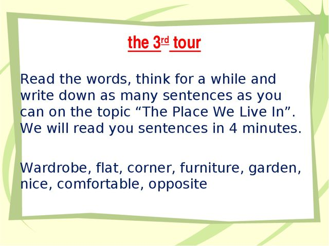 the 3rd tour Read the words, think for a while and write down as many sentenc...