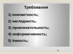 Требования 1) компактность; 2) наглядность; 3) привлекательность; 4) информат