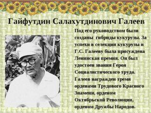 Под его руководством были созданы гибриды кукурузы. За успехи в селекции куку