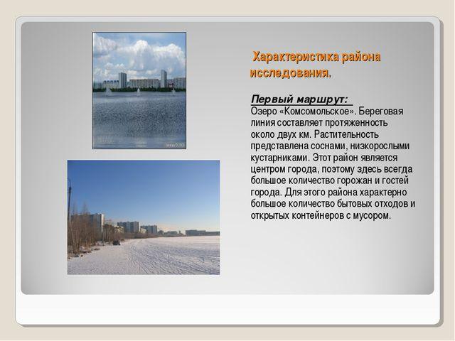 Характеристика района исследования. Первый маршрут: Озеро «Комсомольское». Б...