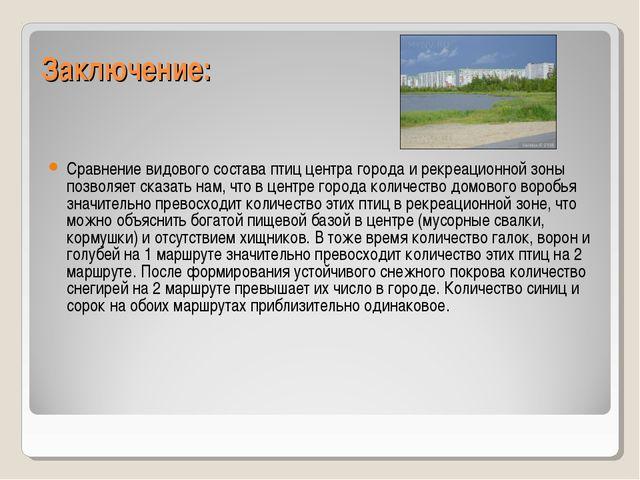 Заключение: Сравнение видового состава птиц центра города и рекреационной зон...