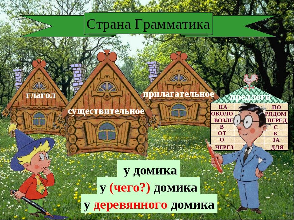 глагол Страна Грамматика у домика у (чего?) домика у деревянного домика