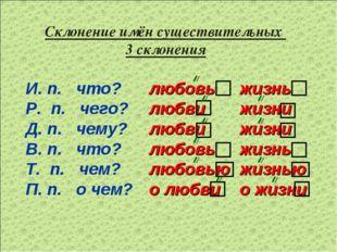 Склонение имён существительных 3 склонения И. п. что? Р. п. чего? Д. п. чему?