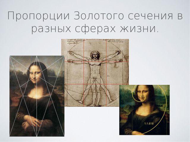 Пропорции Золотого сечения в разных сферах жизни.