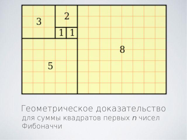 Геометрическое доказательство для суммы квадратов первых n чисел Фибоначчи
