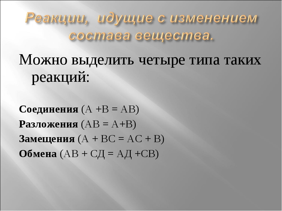 Можно выделить четыре типа таких реакций: Соединения (А +В = АВ) Разложения (...