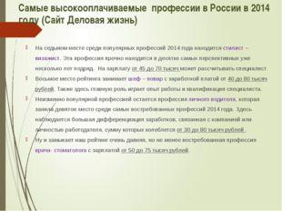 Самые высокооплачиваемые профессии в России в 2014 году (Сайт Деловая жизнь)