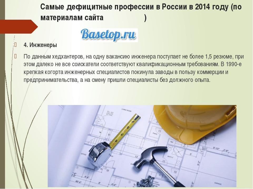 Самые дефицитные профессии в России в 2014 году (по материалам сайта ) 4. Инж...