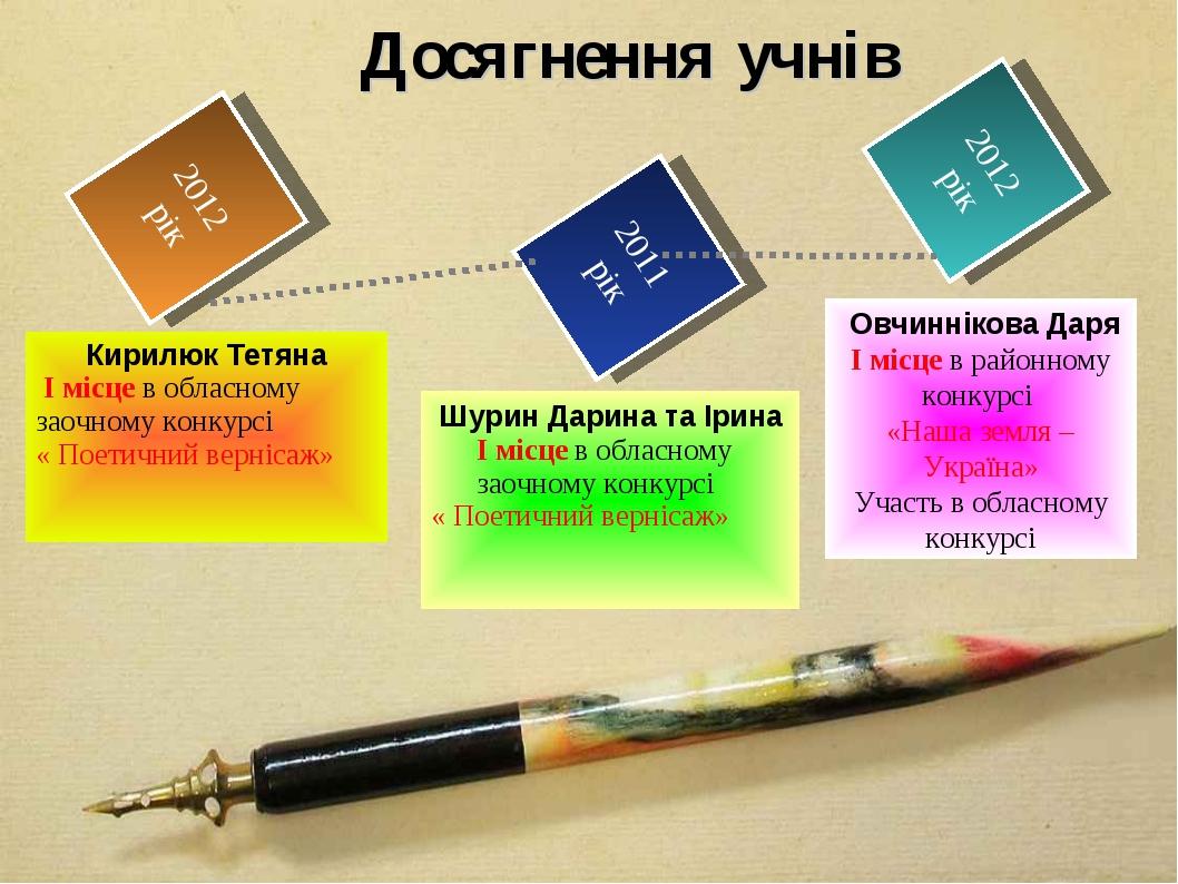 2011 рік 2012 рік 2012 рік Досягнення учнів Шурин Дарина та Ірина І місце в...