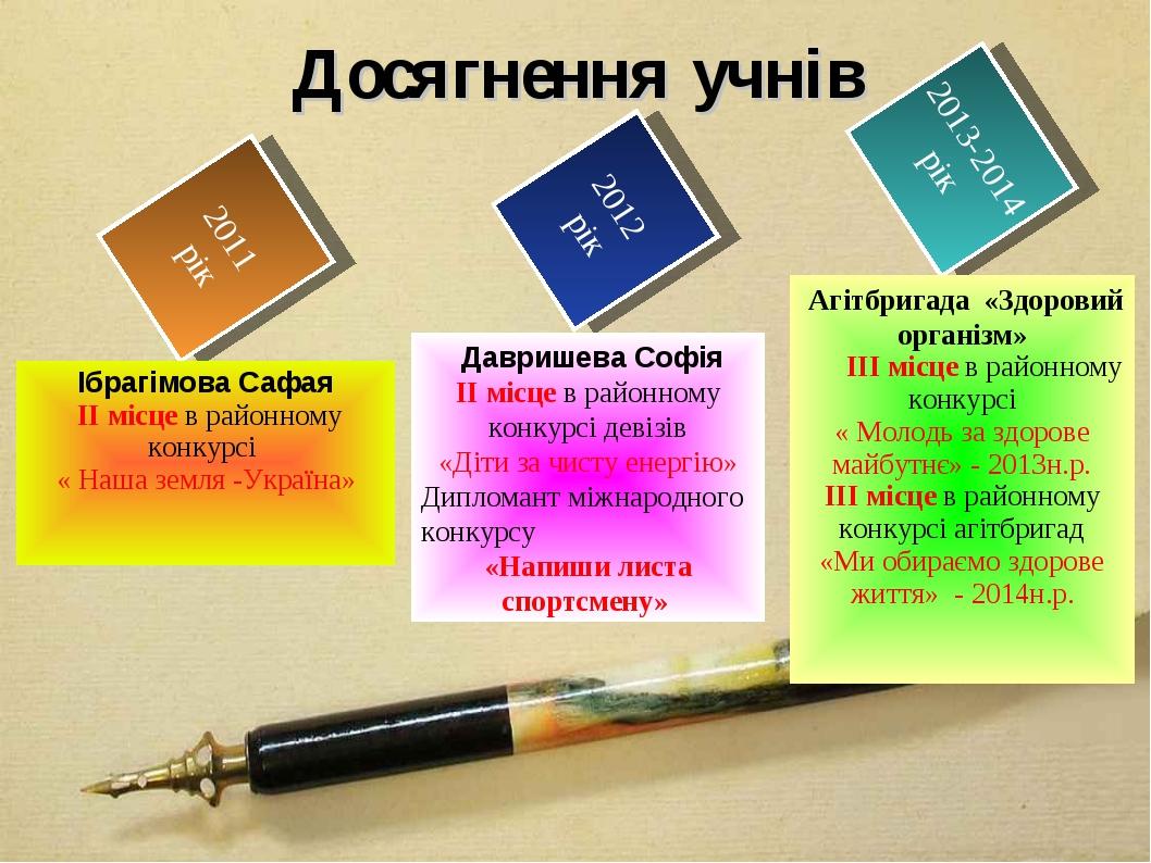 2011 рік 2012 рік 2013-2014 рік Досягнення учнів Ібрагімова Сафая ІІ місце в...