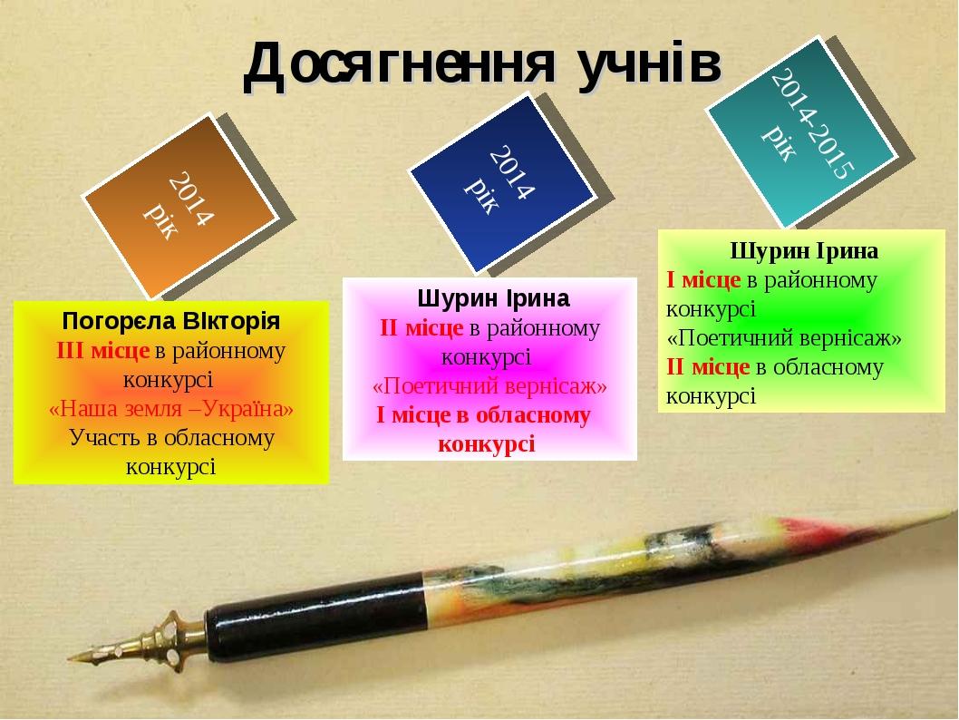 2014 рік 2014 рік 2014-2015 рік Досягнення учнів Погорєла ВІкторія ІІІ місце...