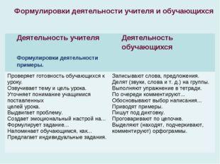 Формулировки деятельности учителя и обучающихся Деятельность учителя Формулир