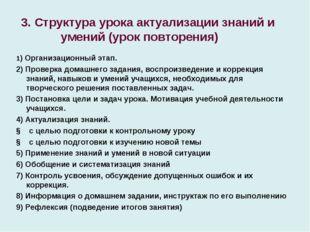 3. Структура урока актуализации знаний и умений (урок повторения) 1) Организ