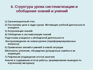 4. Структура урока систематизации и обобщения знаний и умений 1) Организацио