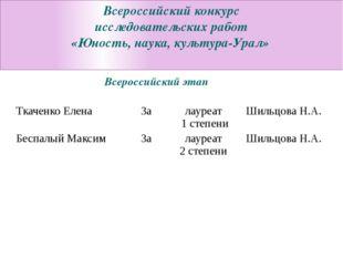 Всероссийский конкурс исследовательских работ «Юность, наука, культура-Урал»