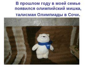 В прошлом году в моей семье появился олимпийский мишка, талисман Олимпиады в