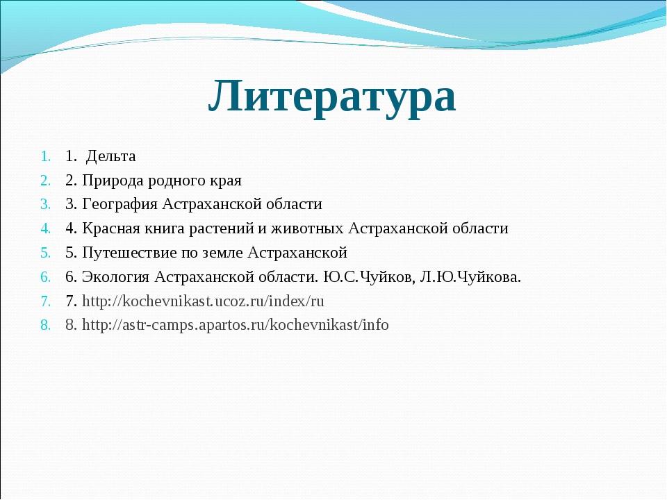 Литература 1. Дельта 2. Природа родного края 3. География Астраханской област...