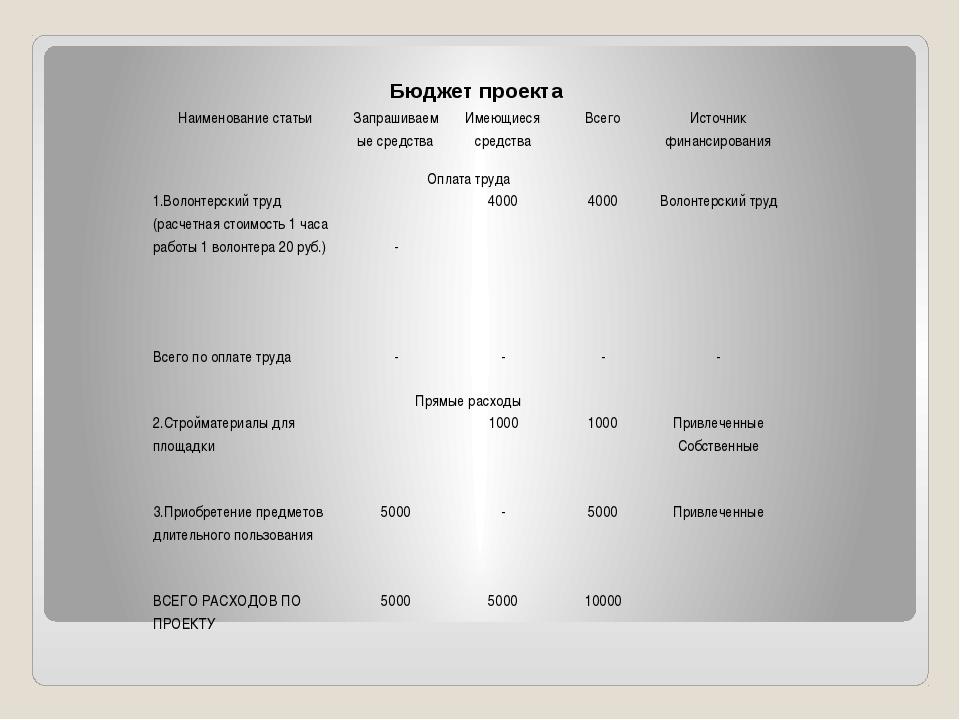 Бюджет проекта Наименование статьи Запрашиваемые средства Имеющиеся средства...