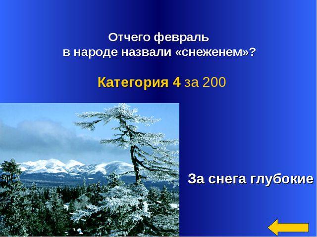 Отчего февраль в народе назвали «снеженем»? За снега глубокие Категория 4 за...