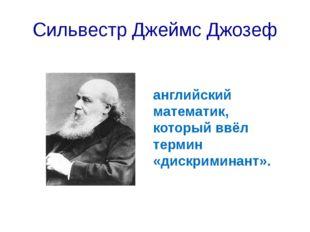 Сильвестр Джеймс Джозеф английский математик, который ввёл термин «дискримина