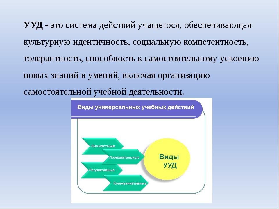 УУД - это система действий учащегося, обеспечивающая культурную идентичность,...