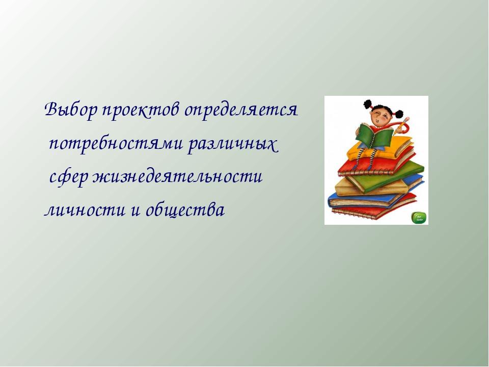 Выбор проектов определяется потребностями различных сфер жизнедеятельности л...