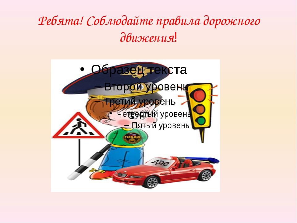 Ребята! Соблюдайте правила дорожного движения!