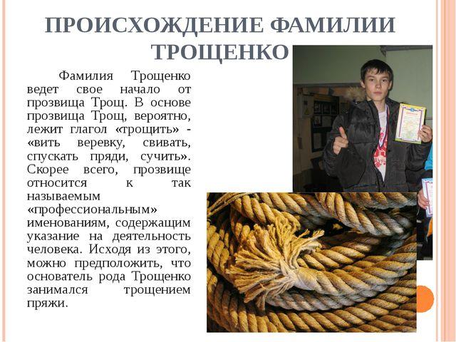 ПРОИСХОЖДЕНИЕ ФАМИЛИИ ТРОЩЕНКО Фамилия Трощенко ведет свое начало от прозви...