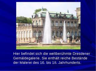 Hier befindet sich die weltberühmte Dresdener Gemäldegalerie. Sie enthält re