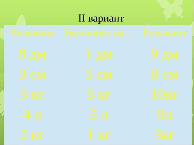 II вариант Величина Увеличитьна… Результат 8дм 1дм 9дм 3 см 5 см 8 см 5 кг 5...
